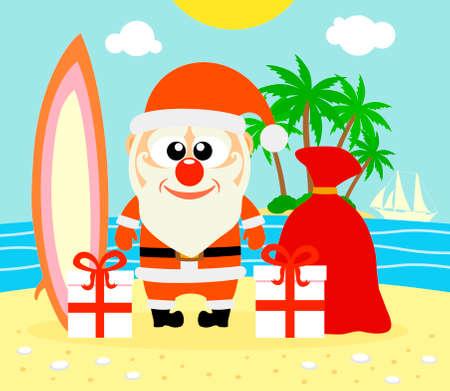 Tropical Christmas with Santa Claus  Vector