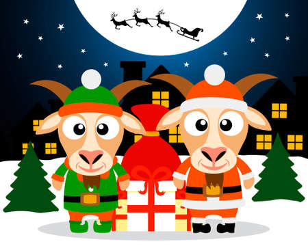 Christmas card with goat santa claus and goat elf vector Vector