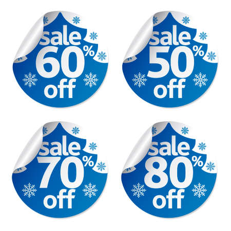 Set Christmas sale stickers ,vector Illustration