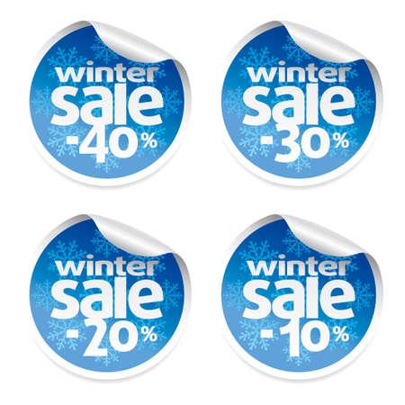 Winter sale stickers set ,vector