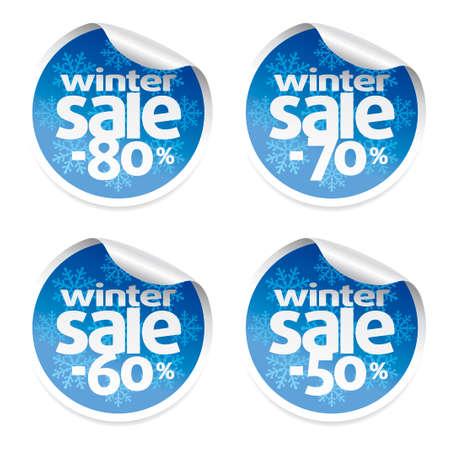 Set Winter sale stickers ,vector