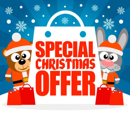 Special Christmas Offer card with bear and rabbit ,vector