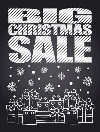Big Christmas Sale chalkboard card Vector