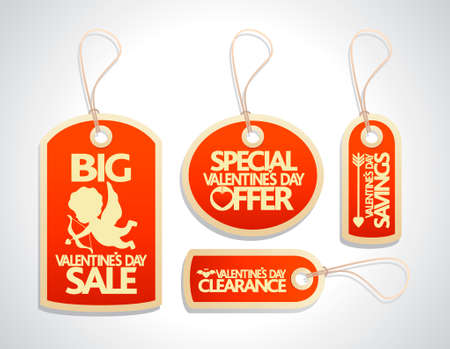 Valentines Day Sale Tags Set ,red Vector
