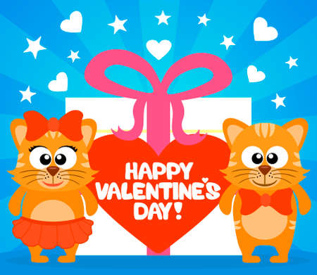 Happy Valentines day card with funny cats vector