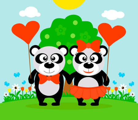 Valentines day  background card with pandas Illustration