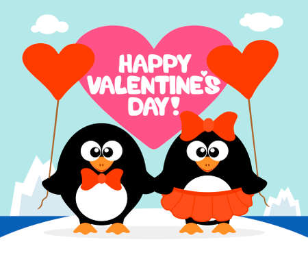lover boy: Valentines day  background card with penguins
