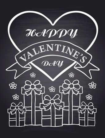 Happy Valentines Day chalkboard card eps.10 Illustration
