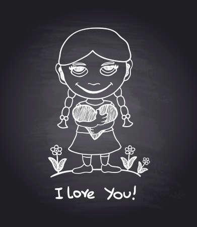 Vector hand draw romantic girl on black chalkboard eps.10