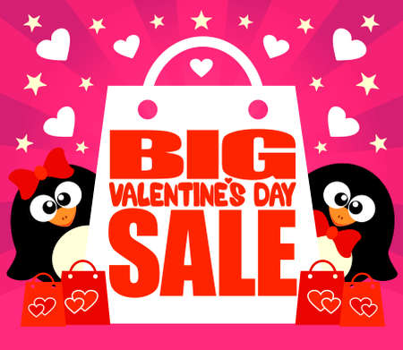 Big Valentines day Sale card with penguins