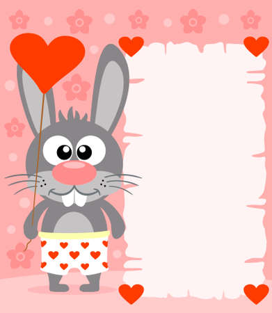 greeting cards: Pink Valentines day background  with funny rabbit Illustration