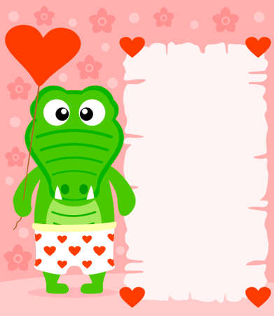 Pink Valentines day background  with funny crocodile Vector