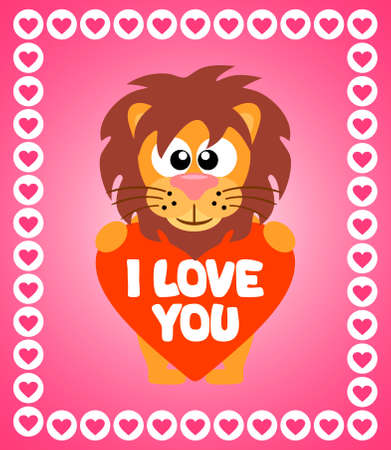 Valentines Day background card with lion Vector
