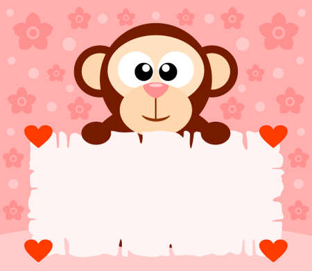 Pink Valentines Day background card with monkey Illustration