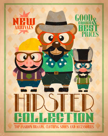 Hipster collection ,animal hipsters retro card illustration Illustration