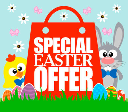Special Easter Offer card , funny rabbit and chicken