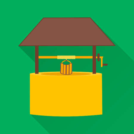 pulley: Water Well,modern design flat icon with long shadow Illustration