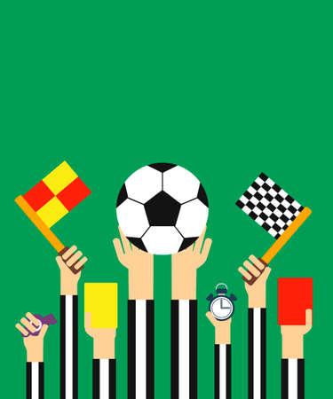 arbitros: Estilo Flat design.Football tarjeta de �rbitros