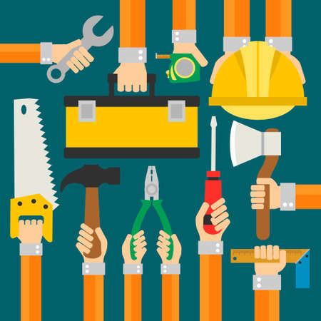 worker person: Builders Modern flat background with hand .Vector illustration