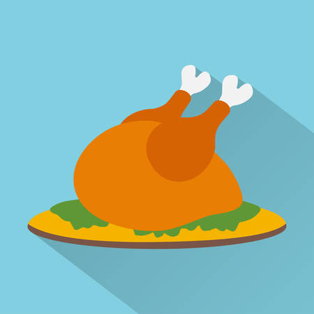 cooked: Flat design style modern vector illustration,cooked turkey