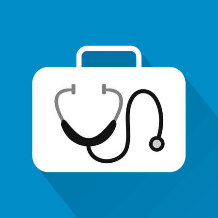 listening to heartbeat: Stethoscope,modern design flat icon with long shadow