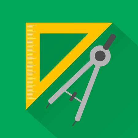 calipers: Flat design style modern vector illustration,ruler and compass Illustration