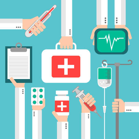 therapeutical: Medical Flat background with hand .Vector illustration Illustration