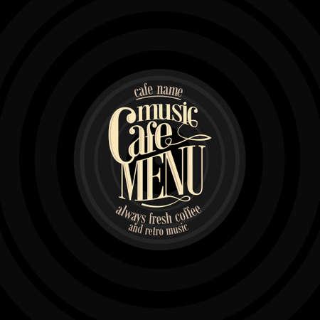 karaoke bar: Retro Music cafe menu ,design vintage card