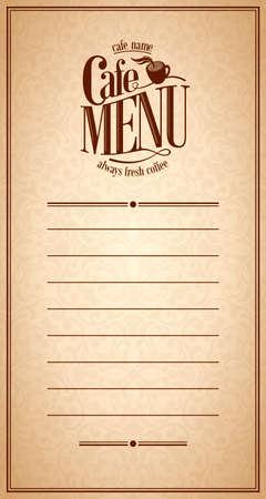 Menu Cafe Design Vintage card
