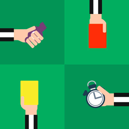 soccer referees hand with red card: Modern flat set footbal referee.Vector illustration