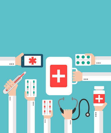 diagnosis: Medical Online diagnosis and treatment. Flat concepts design Illustration