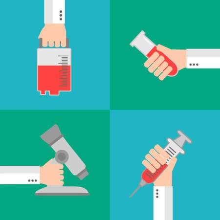 remedial: Set Modern Medical flat background with hand  .Vector illustration Illustration