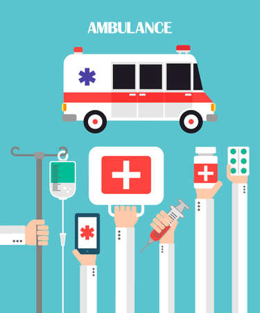 remedial: Medical Ambulance Flat background with hand .Vector illustration