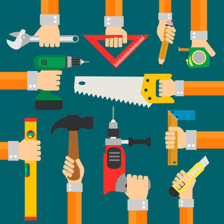 albañil: Constructores modernos fondo plano con la mano de vector