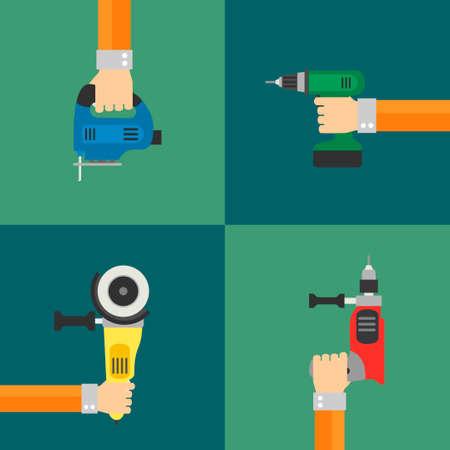refit: Power Tools vector set, flat design style Illustration