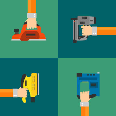 power tools: Power Tools vector set, modern flat design style