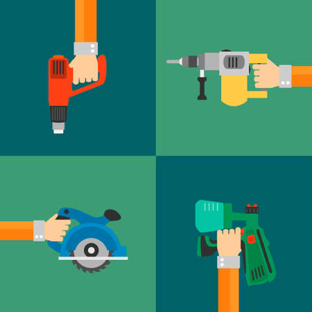 power tools: Power Tools vector set, modern design style flat