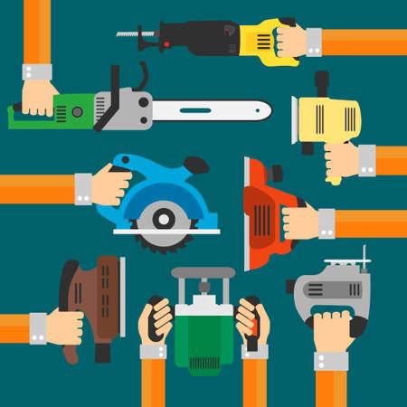 sander: Builders Tools Modern flat background with hand .Vector illustration