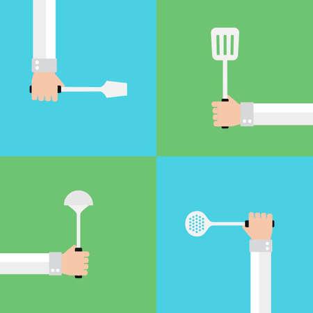 modern kitchen: Kitchen tools modern flat set