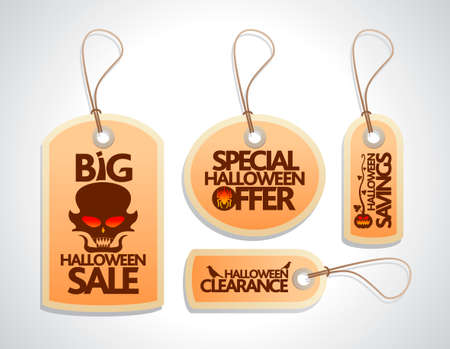 large skull: Halloween Sale concept design Tags Set orange Illustration