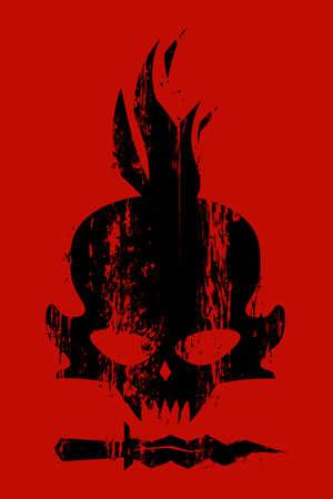 fateful: Concept design vector card, black skull Illustration