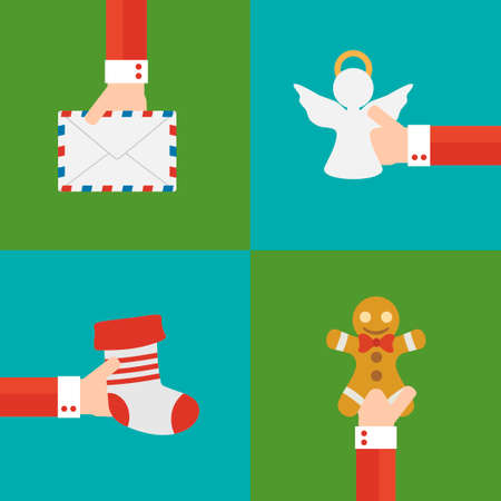 letter from santa: New year set concept flat design