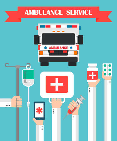 therapeutical: Ambulance Service Flat background with hand .Vector illustration