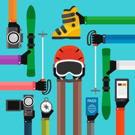 telephone pole: Winter Holidays modern Flat background .illustration Illustration
