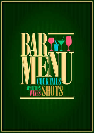 Restaurant und Wein und Cocktails Barkarte design.illustration