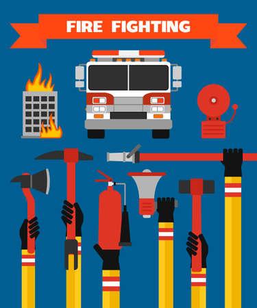 Fire fighting modern design concept flat illustration