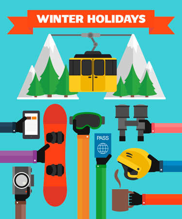 Winter holidays modern Flat background with hand .illustration