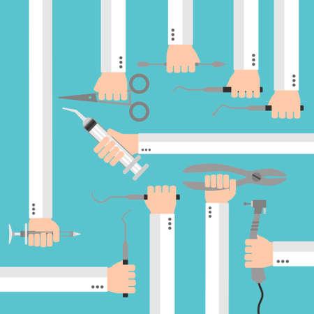gimlet: Flat dental instruments set design concept with hands. Vector illustration Illustration