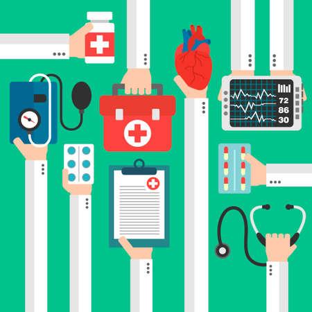 medical preparation: Modern medical heart therapy flat design.Vector illustration Illustration