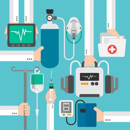 medical preparation: Modern medical therapy flat design.Vector illustration Illustration